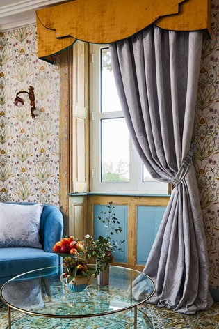 The Chateau by Angel Strawbridge Deco Heron Pencil Pleat Curtains