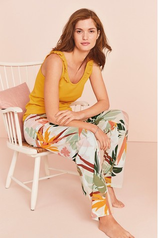 Ochre Palm Print Broderie Rib Pyjamas
