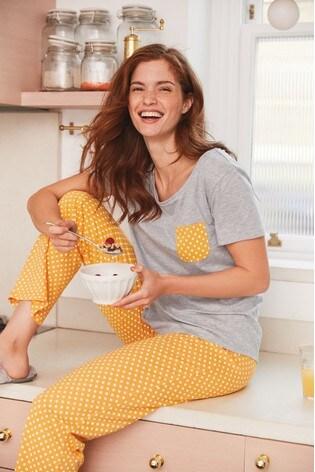Ochre Spot Cotton Blend Pyjamas