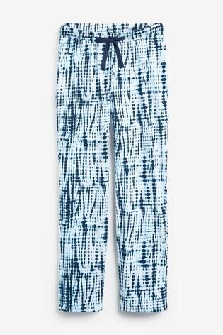 Blue Tie Dye Broderie Rib Pyjamas