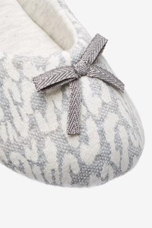 Grey Animal Print Ballerina Slippers