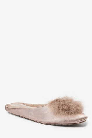 Mink Faux Fur Pom Mule Slippers