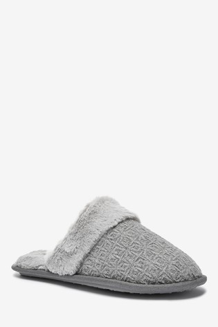 Grey Faux Fur Mule Slippers