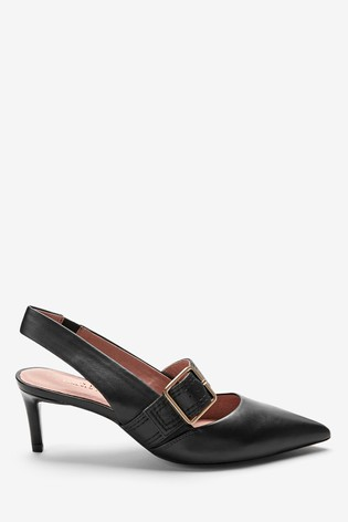 Black Leather Buckle Slingbacks