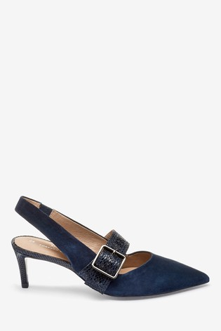 Navy Leather Buckle Slingbacks