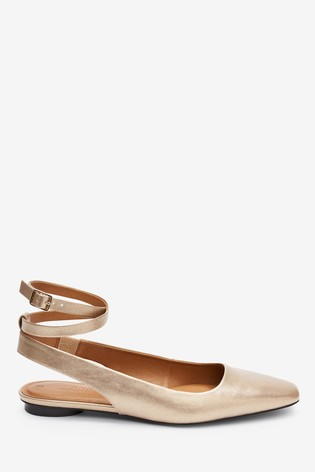 Gold Ankle Wrap Square Toe Shoes