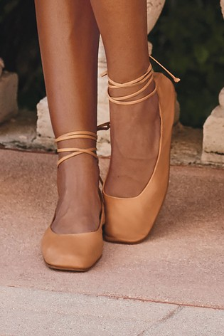 Camel Signature Forever Comfort® Leather Ankle Wrap Ballerinas