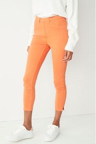 Orange Jersey Cropped Leggings