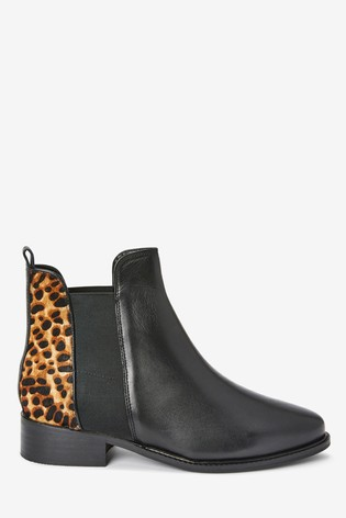 Black/Animal Forever Comfort® Leather Chelsea Boots