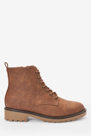 Tan Forever Comfort® Cleat Sole Lace-Up Ankle Boots