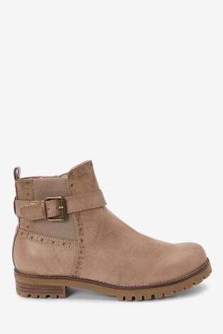 Mink Chunky Buckle Boots
