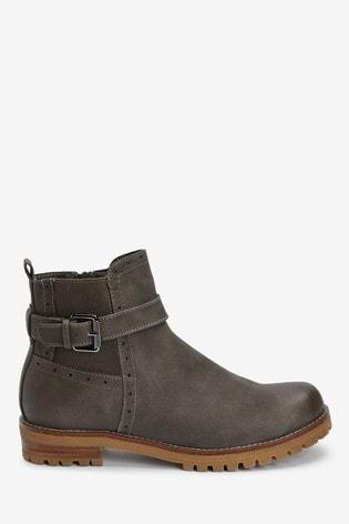 Grey Chunky Buckle Boots