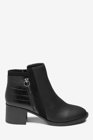 Black Forever Comfort® Block Heel Ankle Boots