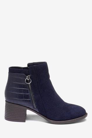 Navy Forever Comfort® Block Heel Ankle Boots