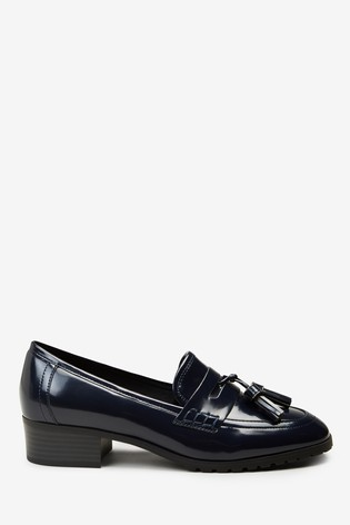 Navy Square Toe Cleat Loafers