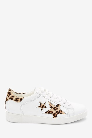 White With Animal Signature Leather Star Lace-Up Trainers
