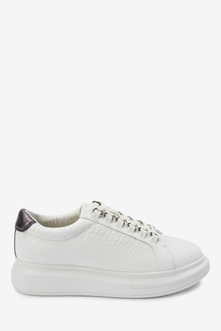 White With Silver Chunky Lace-Up Trainers