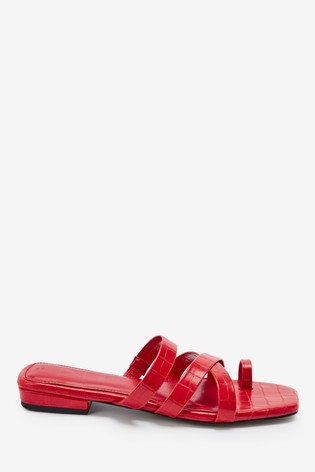 Red Croc Effect Forever Comfort® Toe Loop Mules