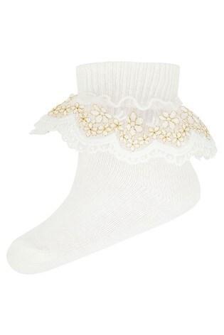 Monsoon Baby Chloe Sparkle Gold Lace Socks