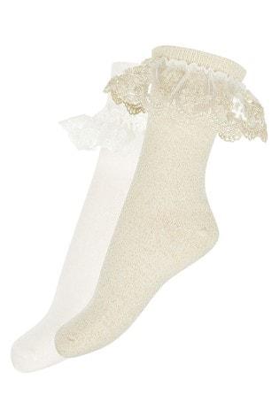 Monsoon Ellen Gold Sparkle Socks Two Pack