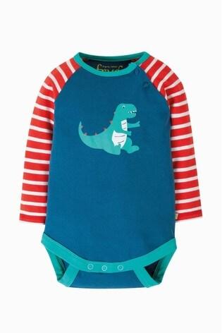 Frugi GOTS Organic Long Sleeve Bodysuit With Dinosaur Print