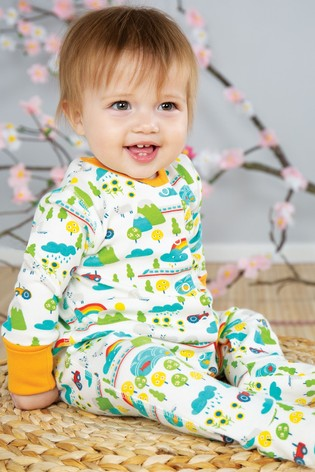 Frugi Cotton Babygrow With Integral Scratch Mitts In Rainbow And Tractor Print
