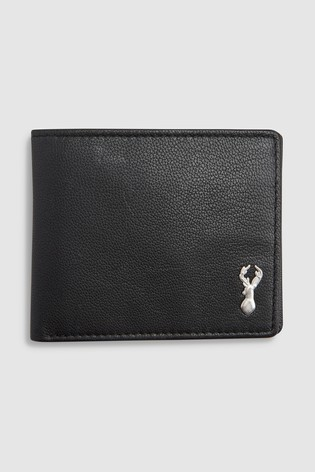 Black Leather Stag Badge Extra Capacity Wallet