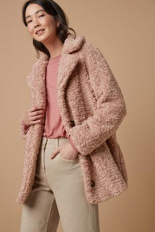 Pink Teddy Borg Coat