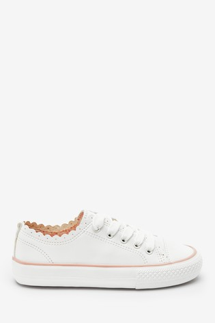 White Scalloped Lace-Up Trainers (Older)