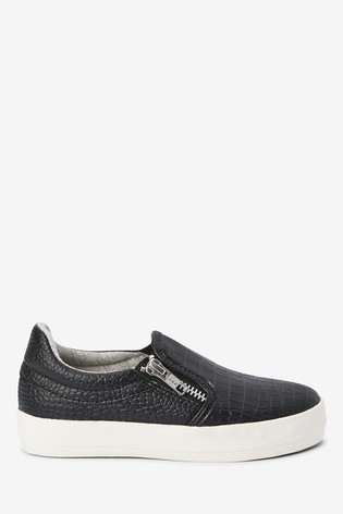 Black Croc Effect Skate Shoes (Older)