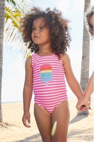 Pink/White Stripe Swimsuit (3mths-7yrs)