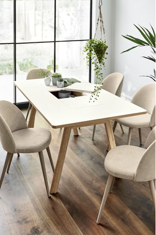 White 6 Seater Storage Dining Table