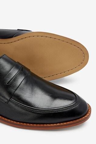 Black Leather Saddle Loafers