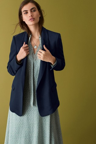 Navy Relaxed Soft Crepe Blazer