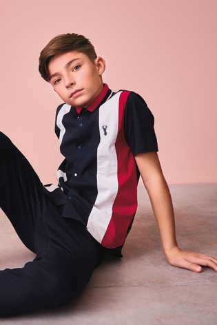 Red/Navy Short Sleeve Colourblock Shirt (3-16yrs)