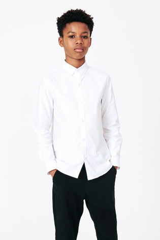 White Without Stag Long Sleeve Oxford Shirt (3-16yrs)