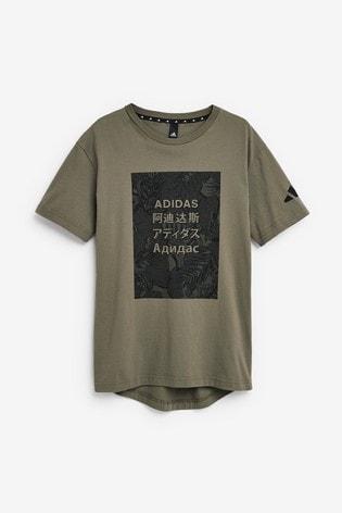adidas T Shirt mit Grafik mit tropischem Motiv