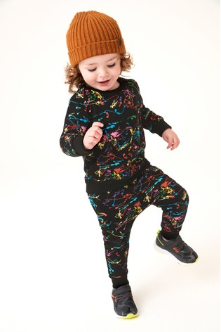 Black Rainbow Splat Crew Top And Joggers Set (3mths-7yrs)