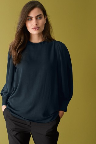 Navy Puff Long Sleeve Top