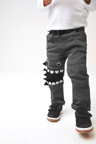 Charcoal Monster Pull-On Jersey Trousers (3mths-7yrs)