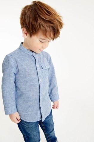 Blue Long Sleeve Linen Mix Grandad Shirt (3mths-7yrs)