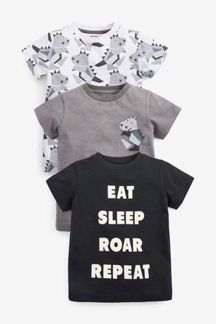 Monochrome 3 Pack Short Sleeve Dino T-Shirts (3mths-7yrs)
