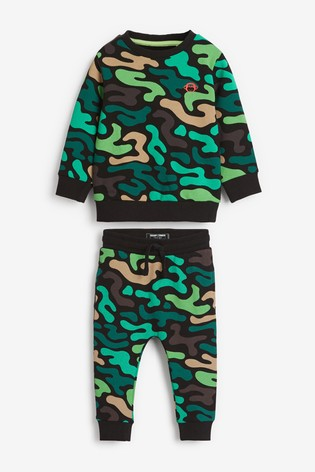 Green Camo Crew And Joggers Set (3mths-7yrs)