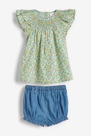 Green 2 Piece GOTS Organic Cotton Blouse and Bloomer Set (0mths-2yrs)