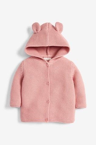 Pink Hooded Ear Cardigan (0mths-3yrs)