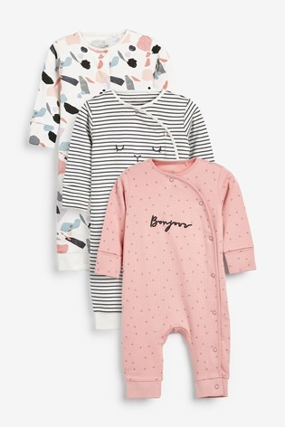 Pink 3 Pack Mono Footless Sleepsuits (0mths-2yrs)