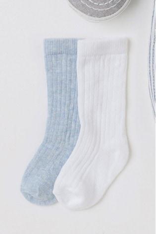 Blue/White 2 Pack Knee Length Socks (Younger)