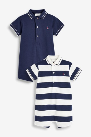 Navy/White 2 Pack Stripe Polo Rompers (0mths-2yrs)