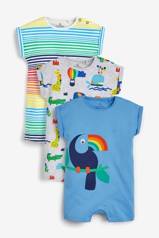 Blue 3 Pack Toucan Rompers (0mths-3yrs)