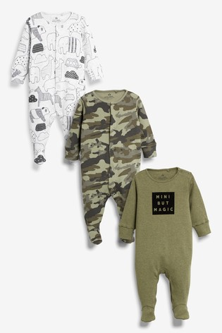 Camouflage 3 Pack Slogan/Animal Character Sleepsuits (0mths-2yrs)